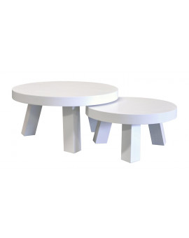 Round coffee table made ​​of solid wood painted white.