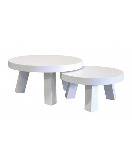 Round Coffee Table Made Of Solid Wood Painted White
