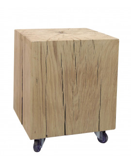 Solid oak block on wheels to be used as a chair or a side table