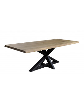 Massive oak table Dax metal