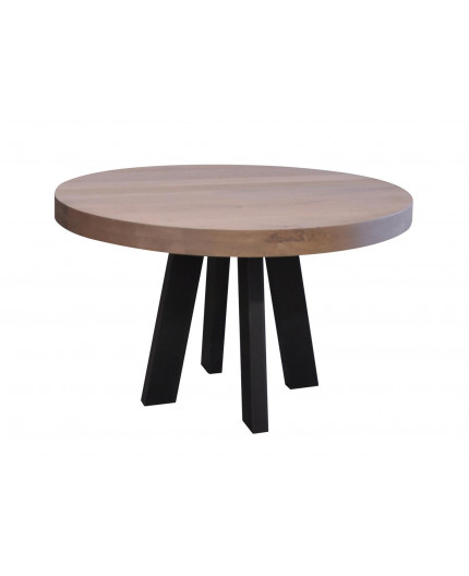 round oak tafel with metal legs