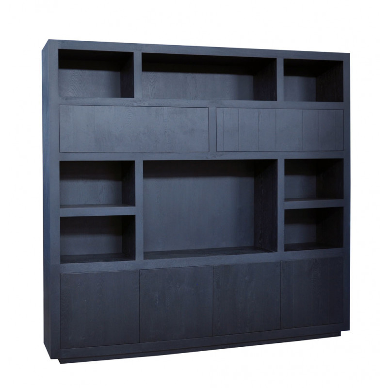 oak wall cupboard with TV compartment in wenge color